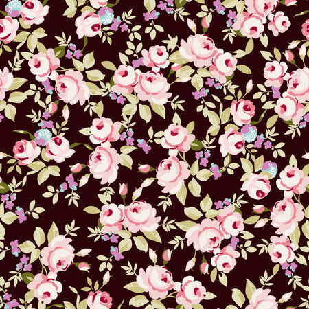 little: Seamless floral pattern with little pink roses, on black background