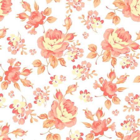 orange rose: Seamless floral pattern with orange rose