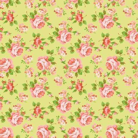 orange roses: Seamless floral pattern with orange roses