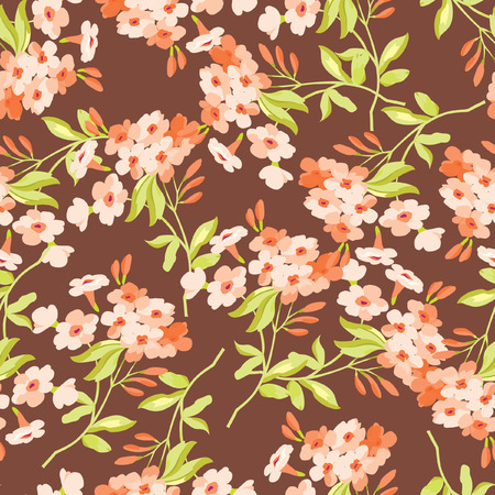 pink brown: eamless floral pattern with pink flowers on brown fonts