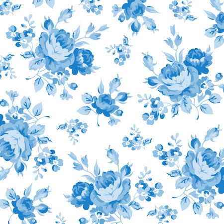 Bloemen patroon met blauwe roos,
