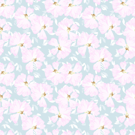 rose hips: Seamless floral pattern with Pink flowers of rose hips Illustration