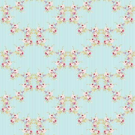 작은 핑크 장미와 원활한 플로랄 패턴, 빈티지 스타일의 벡터 일러스트 레이 션입니다.