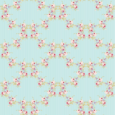 Seamless floral pattern with little pink roses, vector illustration in vintage style. Vettoriali