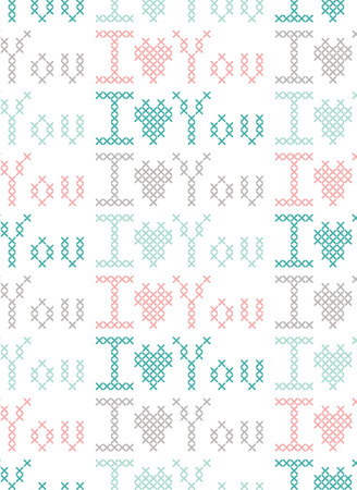 punto de cruz: Seamless pattern with cross-stitch. Vectores