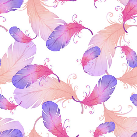 iridescent: Watercolor seamless pattern with bird feathers. Illustration