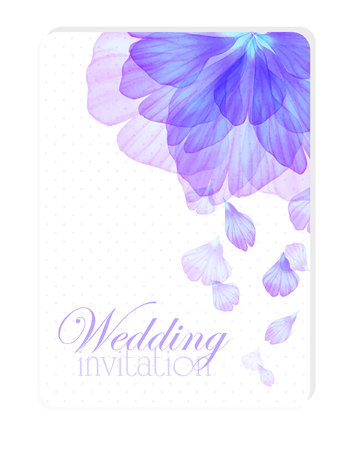 flower petals: Floral wedding invitation with Watercolor flower petals