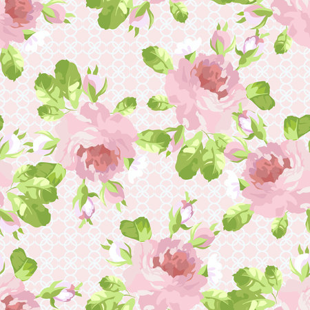 garden flowers: Seamless floral pattern with pastel pink rose.