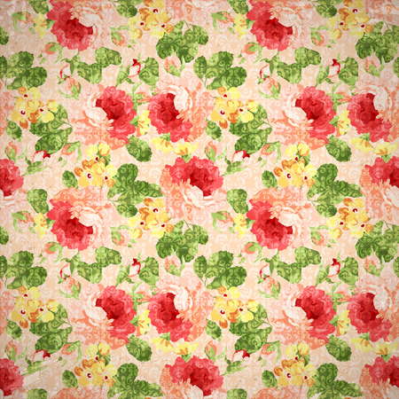 red leaves: Beautiful Vintage  floral pattern with red rose. Illustration