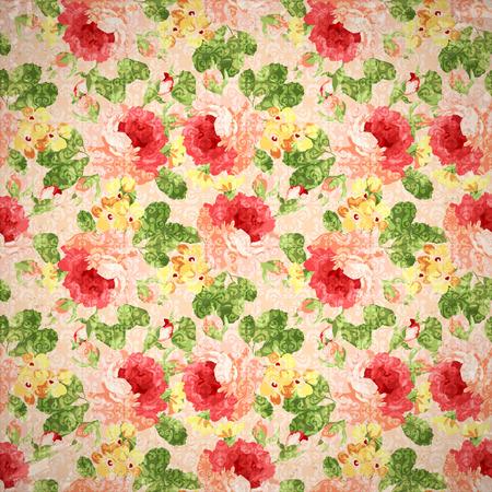 elegantly: Beautiful Vintage  floral pattern with red rose. Illustration