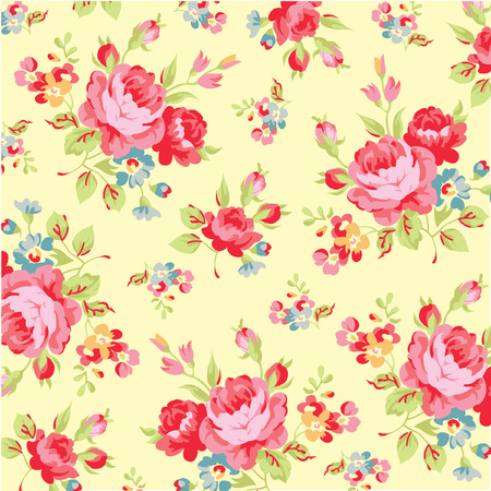 yellow rose: Floral pattern with red rose