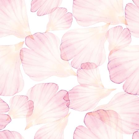 Watercolor Seamless pattern. Pink flower petal.