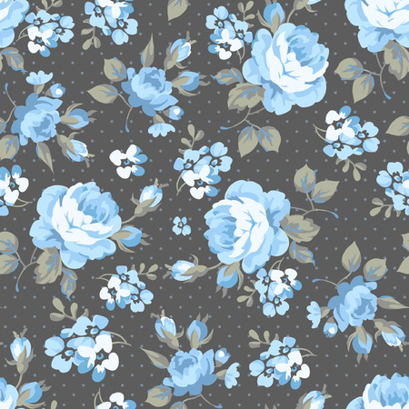 Seamless floral pattern with blue rose and grey leaves