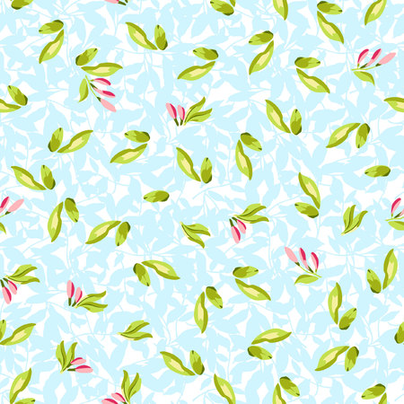 buds: Seamless floral pattern with leaves and pink buds