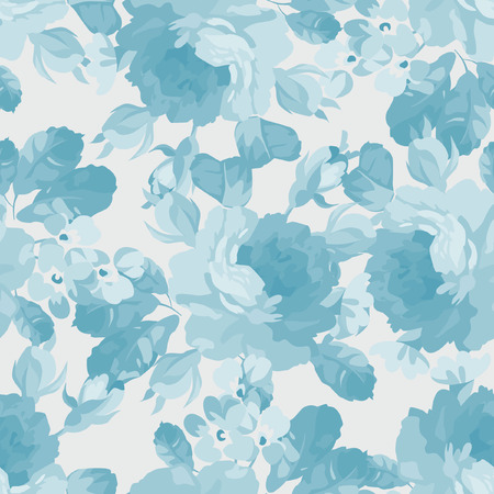 blue rose: Seamless floral pattern with blue rose,