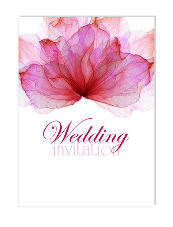 水彩花の花びらを持つ花結婚式招待状  イラスト・ベクター素材