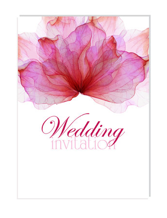 anniversary flower: Floral wedding invitation with Watercolor flower petals