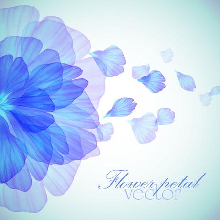 푸른 꽃잎 수채화 꽃 라운드 패턴 일러스트