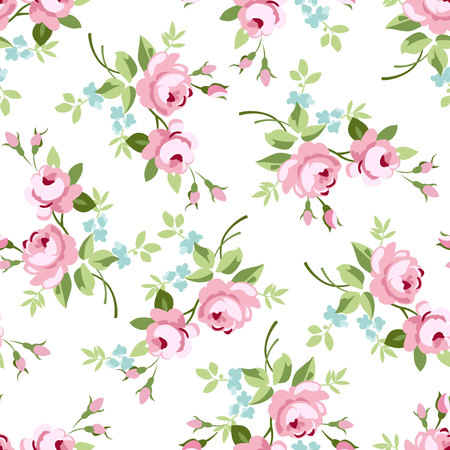 Seamless floral pattern with little pink roses, vector illustration in vintage style. 일러스트