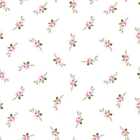 Seamless floral pattern with little flowers pink roses, vector floral illustration in vintage style.