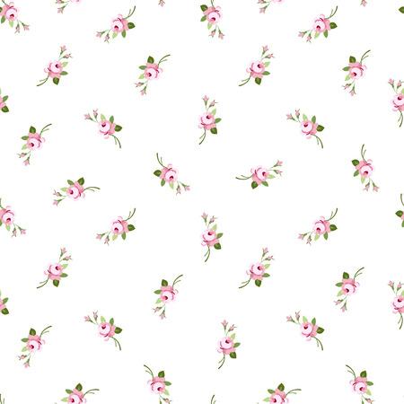 Naadloze bloemmotief met kleine bloemen roze rozen, vector bloemen illustratie in vintage stijl.