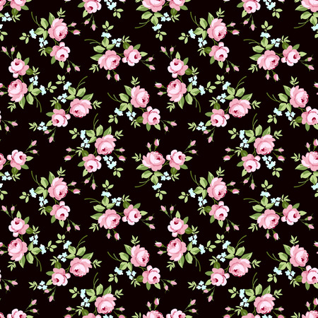 petites fleurs: motif floral transparente avec petites roses roses, sur fond noir
