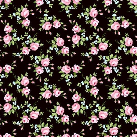 rosa negra: Patrón floral sin fisuras con pequeñas rosas de color rosa, sobre fondo negro