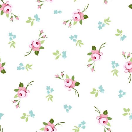 Patrón floral transparente con rosas pequeñas flores de color rosa, ilustración vectorial floral en estilo vintage.