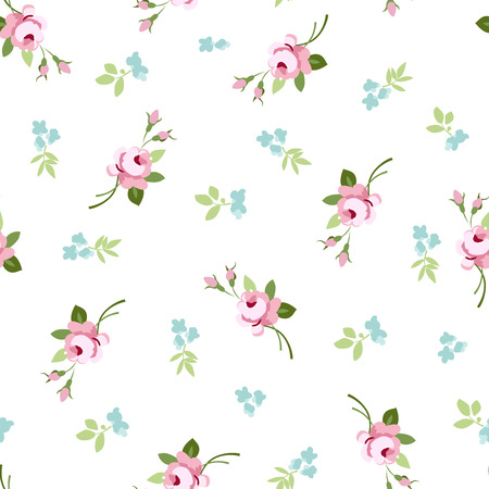 beautiful rose: Seamless floral pattern with little flowers pink roses, vector floral illustration in vintage style.