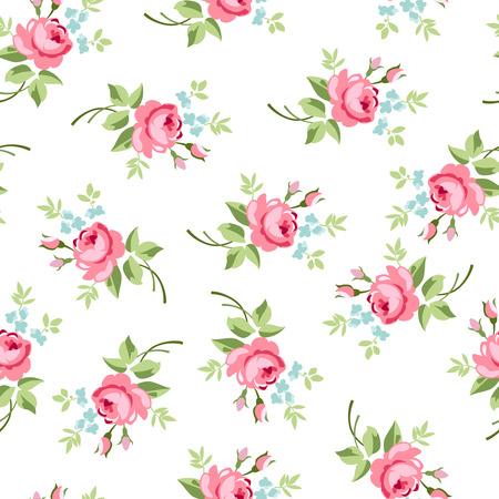 Patrón floral transparente con pequeñas rosas rojas, ilustración vectorial de estilo vintage.