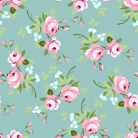 Naadloze bloemmotief met kleine roze rozen, vector illustratie in vintage stijl op groen fonts