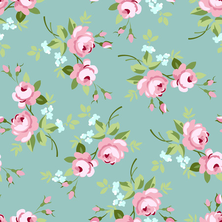 Seamless floral pattern with little pink roses, vector illustration in vintage style on green fonts 向量圖像