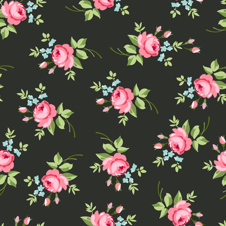 vintage rose: Seamless floral pattern with little red roses, on black background