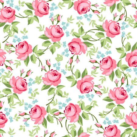 Patrón floral transparente con pequeñas rosas rojas, ilustración vectorial de estilo vintage. Ilustración de vector