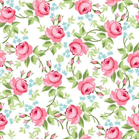 Seamless floral pattern with little red roses, vector illustration in vintage style. Ilustração