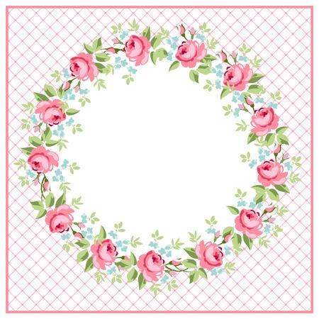 빨간 장미와 함께 아름 다운 꽃 인사말 라운드 카드 일러스트