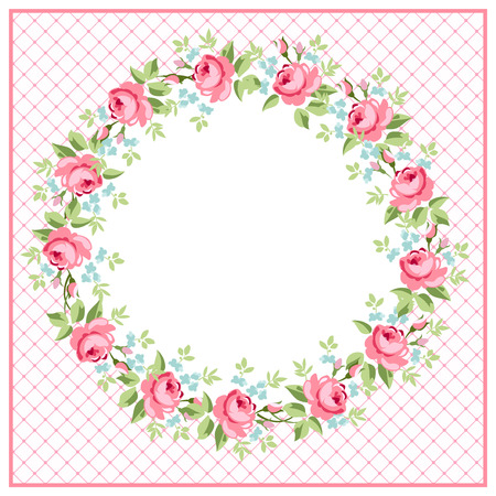 Beautiful floral Greeting round card with red roses Illustration