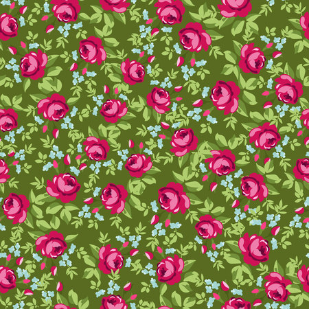 english rose: English Rose, Seamless wallpaper pattern with redroses, vector illustration Illustration