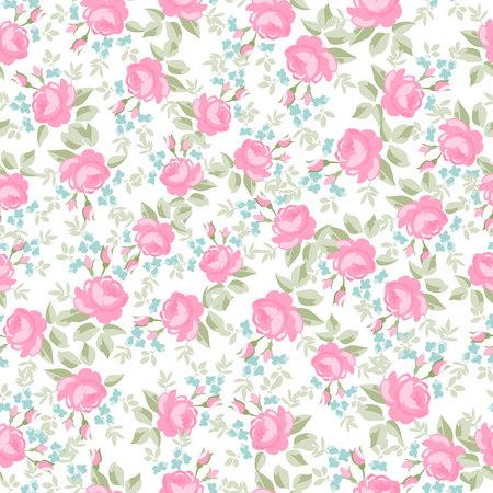 Seamless wallpaper pattern avec des roses pastel, illustration vectorielle