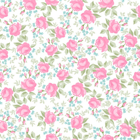 victorian pattern: Seamless wallpaper pattern with pastel roses, vector illustration
