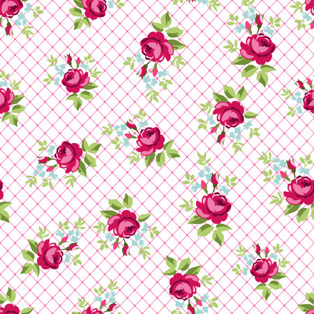Inglés Rose, patrón de papel tapiz sin fisuras con redroses, ilustración vectorial