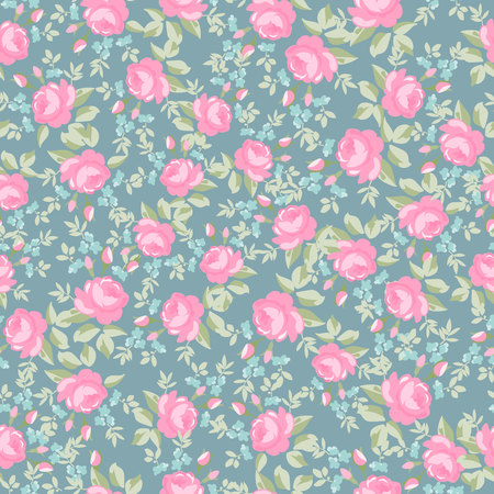 Seamless wallpaper pattern with pastel roses, vector illustration