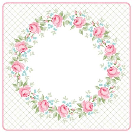 Mooie bloemen round Wenskaart met littlel roze rozen