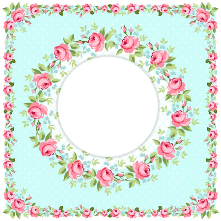 flowers bouquet: Beautiful floral round Greeting card with littlel pink roses Illustration