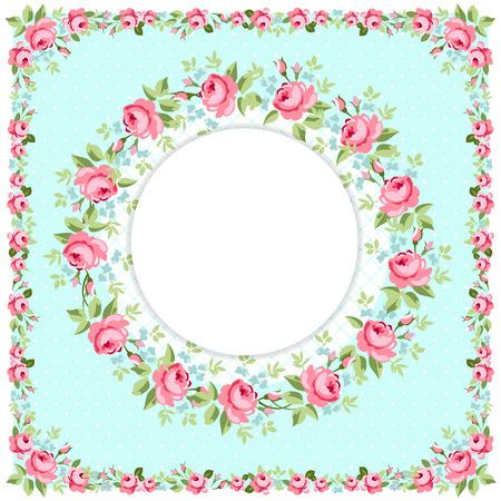 Tarjeta de felicitación redonda floral hermoso con las rosas rosadas LittleL