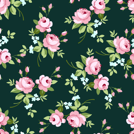 Seamless floral pattern with little pink roses, vector illustration in vintage style on green fonts Stock Illustratie