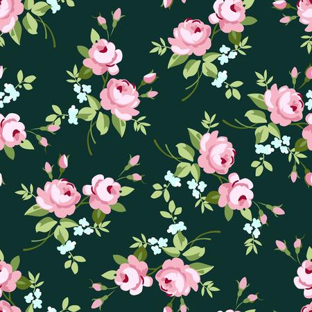 Patrón floral transparente con pequeñas rosas de color rosa, ilustración vectorial en el estilo vintage en fuentes verdes