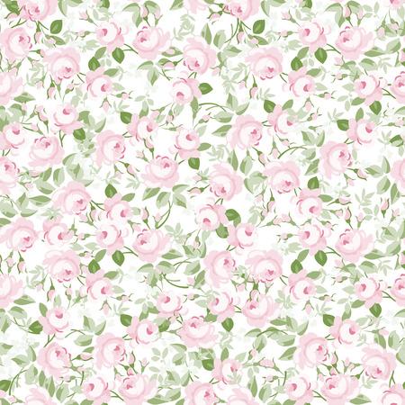 Patrón floral transparente con pequeñas rosas rosas, ilustración vectorial en estilo vintage en fuentes blancas