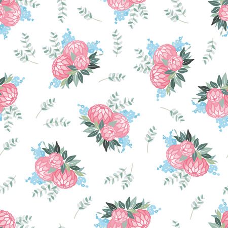buds: Flower background. Floral tile ornamental texture with flowers. Illustration