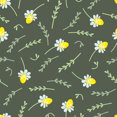 sprigs: Seamless floral pattern with small camomiles and sprigs of plants